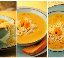 Rozgrzewająca zupa dyniowa z kaparami, chili i makaronem